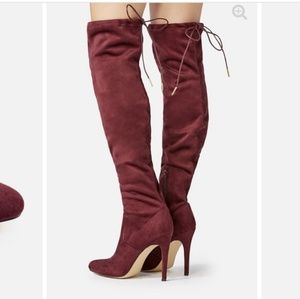 Just Fab suede burgundy heeled boots